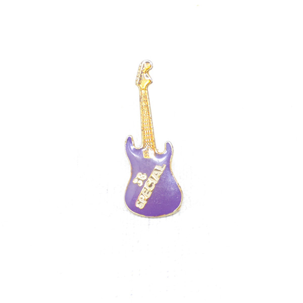 .38 Special S-Type Guitar Pin in Purple with Gold and Off-white logo.