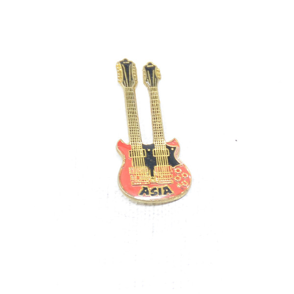 ASIA Double Neck guitar pin with Red, Black and Gold colors.