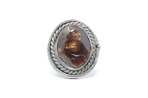 Fire Agate Navajo Sterling Silver Statement Ring Size 8