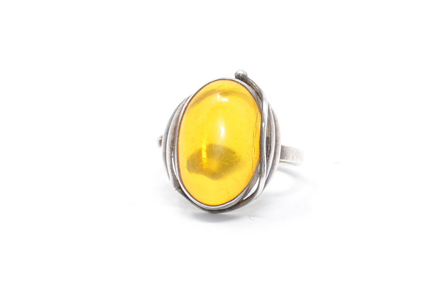 Danish Amber Nature Inspired Sterling Silver Ring 8