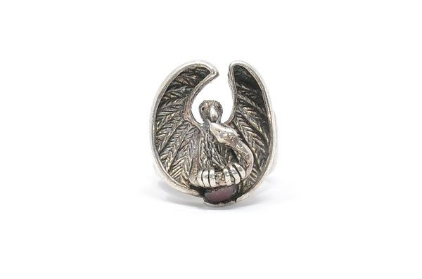 Eagle & Snake Motif Sterling Silver Statement Ring Size 8 3/4