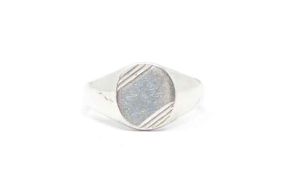 Corner Cut Signet Sterling Ring Size 12
