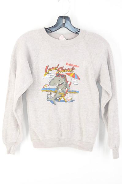 Deadstock Land Shark Bahamas Grey Long Sleeve Raglan Sweatshirt | Youth XL | Ladies XS