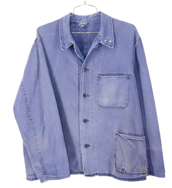 HBT Faded and Repaired Euro. Indigo Blue Work Wear Chore Coat.