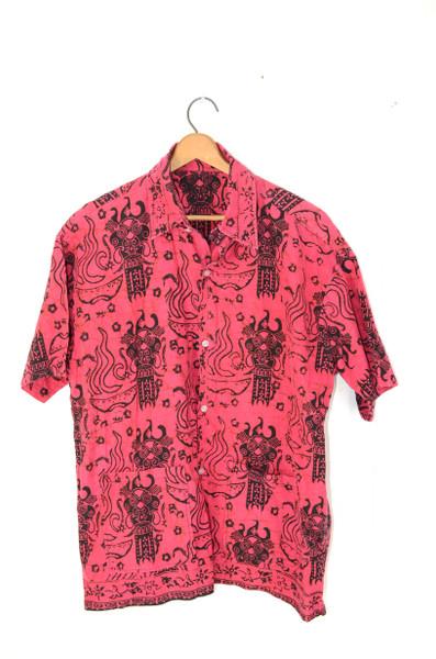 Raspberry Red Tiki Hawaiian Shirt   Mens Large