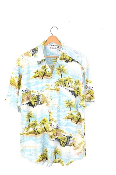 Tropical Island & Mountains 100% Rayon Hawaiian Shirt   Mens Large