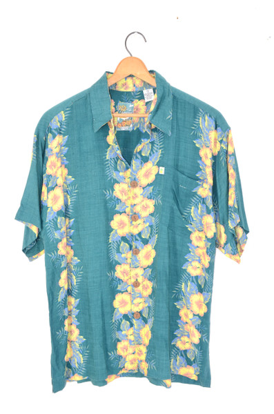100% Rayon Vertical Floral Hawaiian Shirt Green   Mens Medium