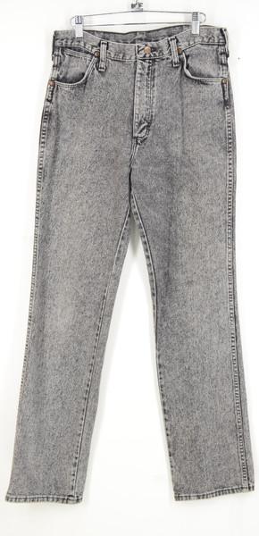"Wrangler Black Acid Wash Straight Leg Jeans. Made in USA. 32"" Waist."