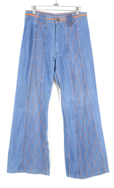 """1970s Faded Glory 100% Cotton Denim Bell Bottoms With Orange Quilted Stitch Detail. 30"""""""