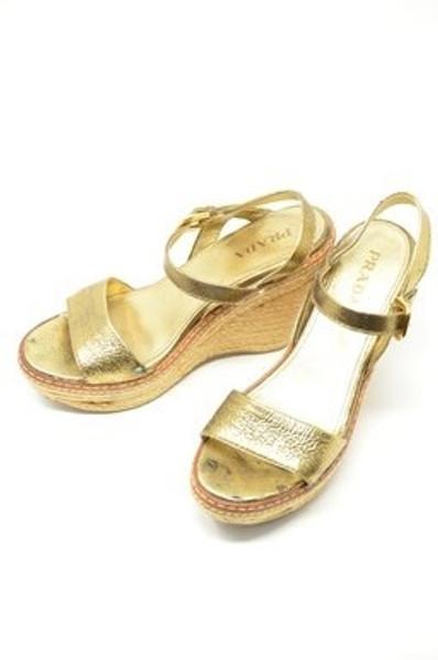 Gold Prada Sandals