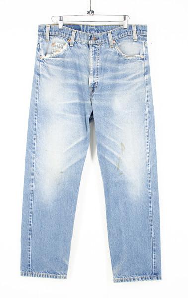 "90s Levis Orange Tab 505 Regular fit Straight Leg Light Wash Distressed Jeans. 34"""