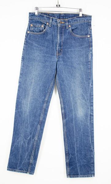 "Levi's 505 Regular Fit Straight Leg Dark Wash Jeans. Made in USA. 32"" Waist"
