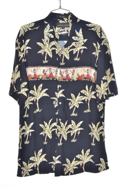 100% Rayon Dancers & Palm Hawaiian Shirt