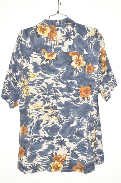 100% Silk Blue Palm & Orchid Hawaiian Shirt | 44 Large