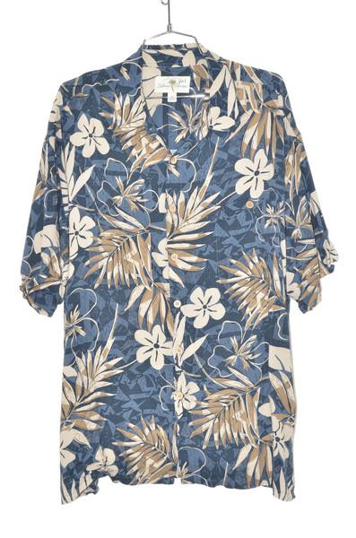 100% Rayon Blue & Champagne Orchid Hawaiian Shirt   50 XXL