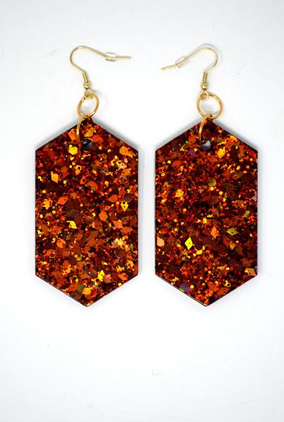 Fire Agate Diamonds | Handmade Glitter Earrings