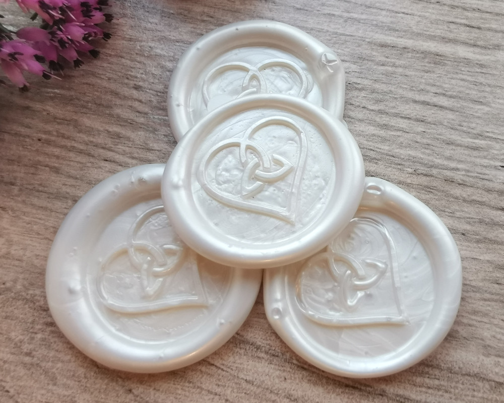 Trinity Heart Peel and Stick wax stickers Pearl White