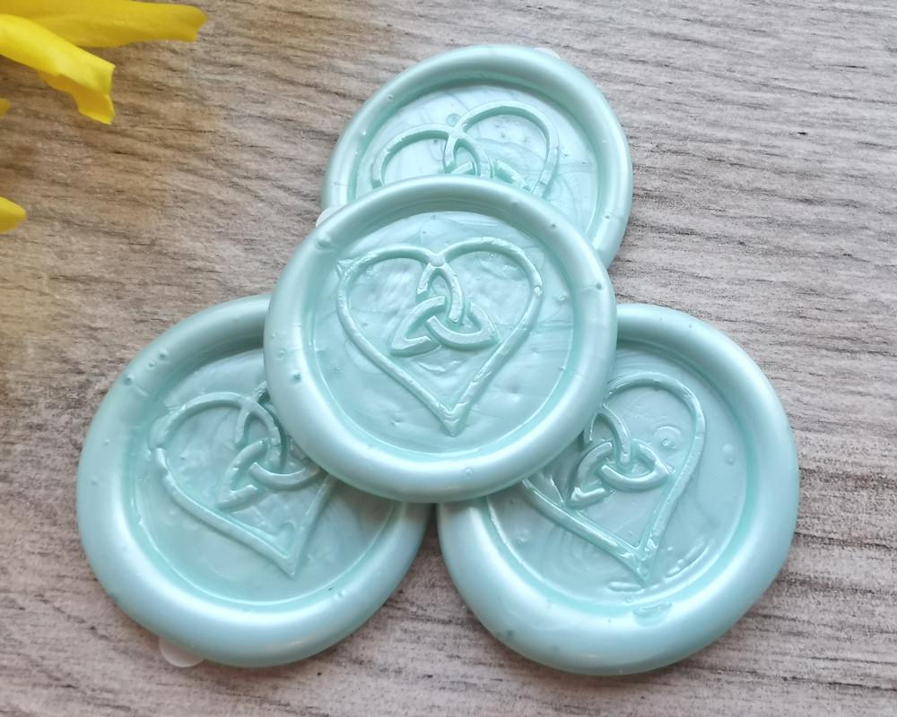 Trinity Heart Peel and Stick wax stickers Cool Mint Green