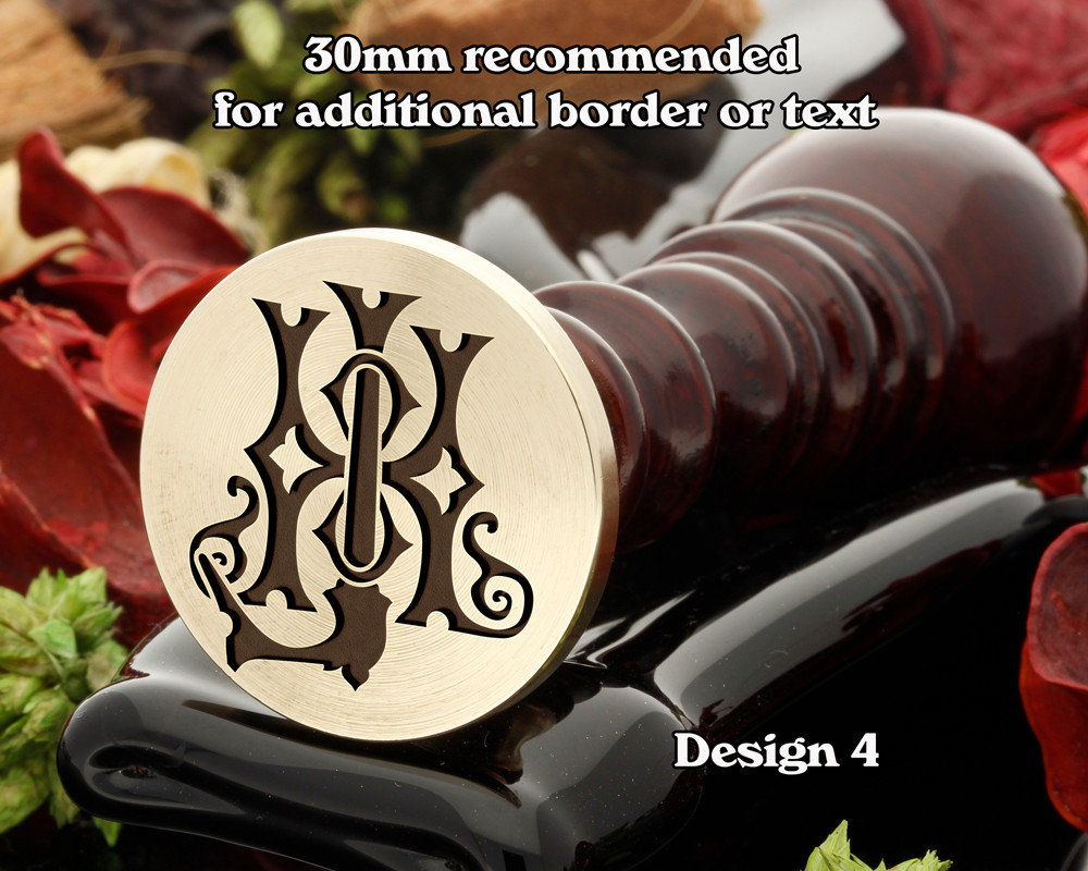 Victorian Monogram HJ JD Wax Seal D4