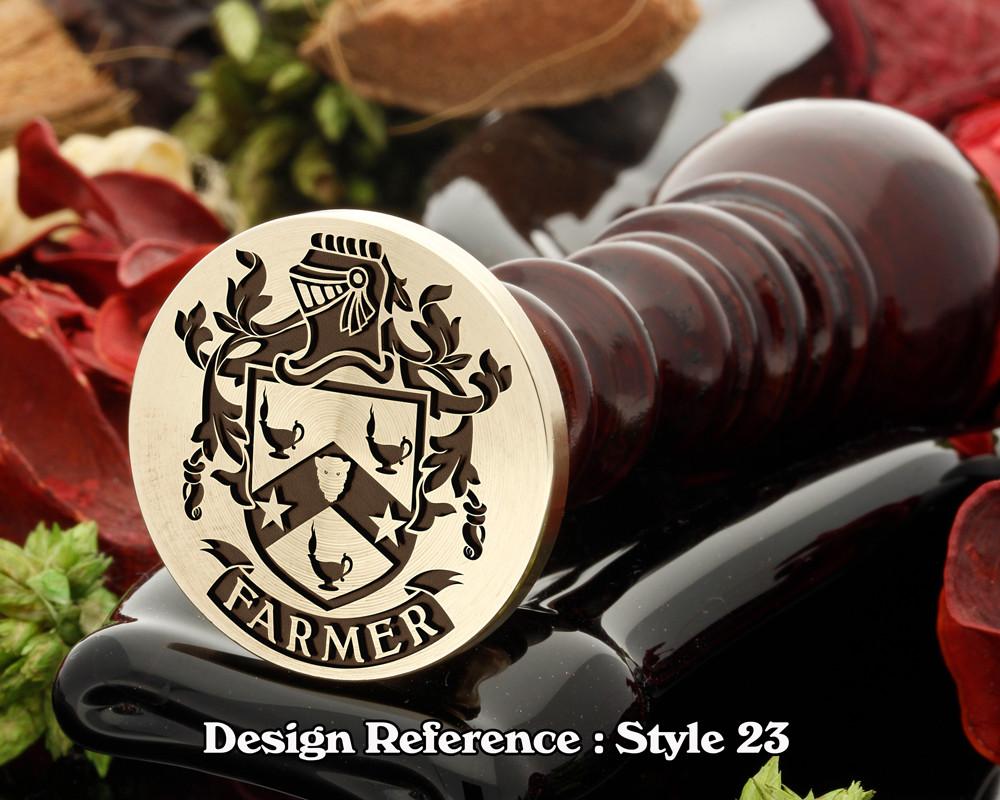 Farmer Family Crest Wax Seal D23