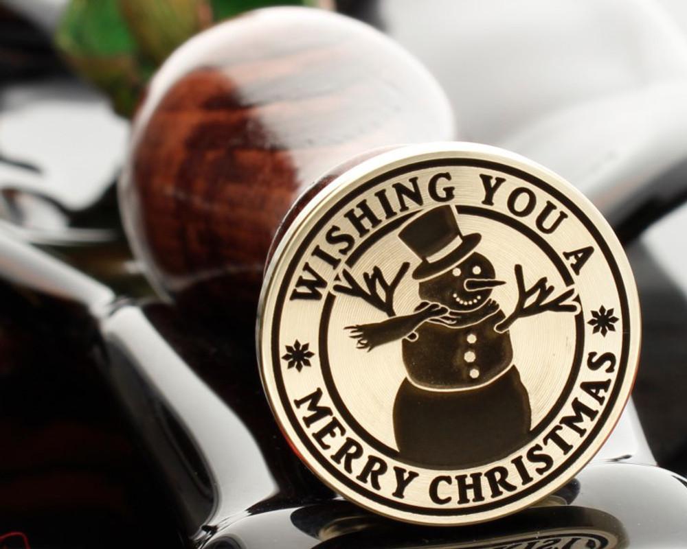 Christmas Snowman Wax Seal Wishing You A Merry Christmas