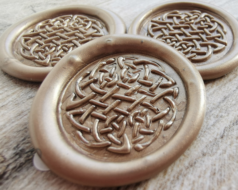 Celtic Peel and Stick Wax Seal Stickers - Honey Gold