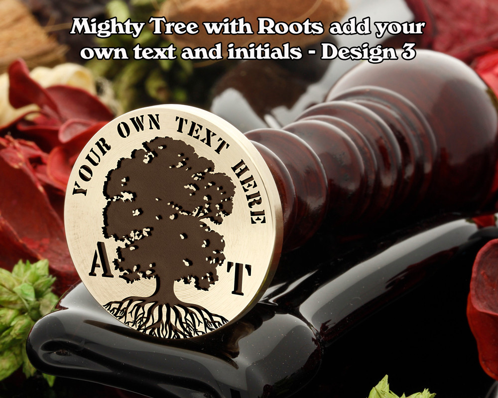 Mighty Oak Tree with Roots D3 with additional top text and initials