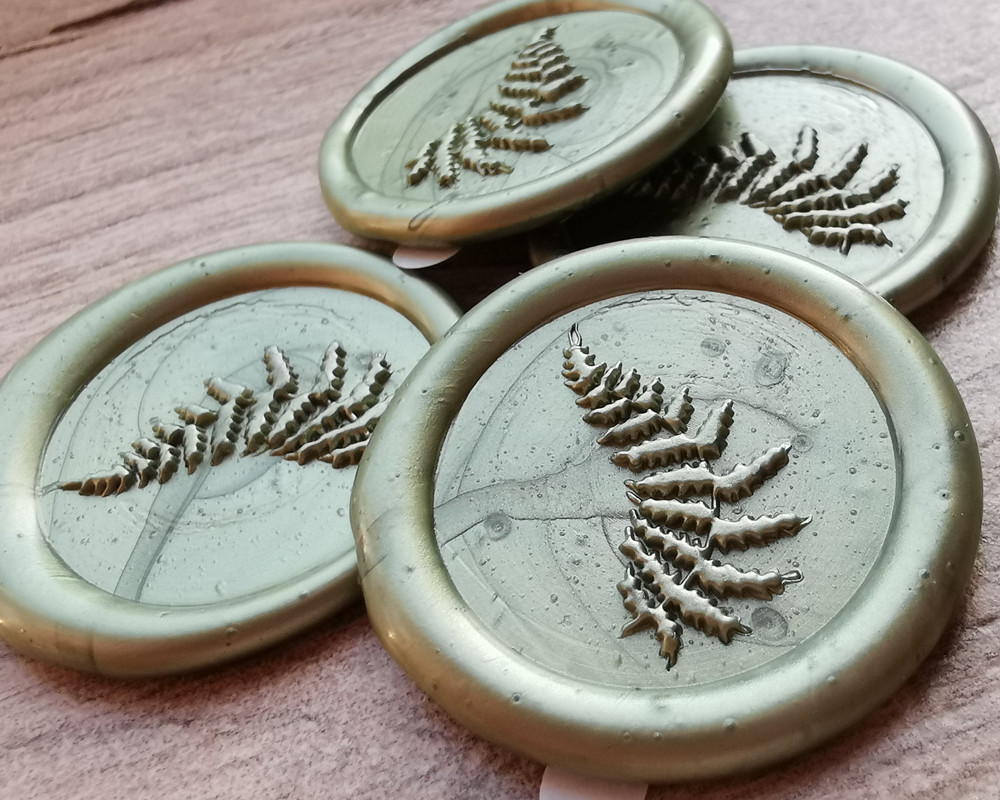 Delicate Fern Peel and Stick Self Adhesive Wax Seal Stickers Olive Green