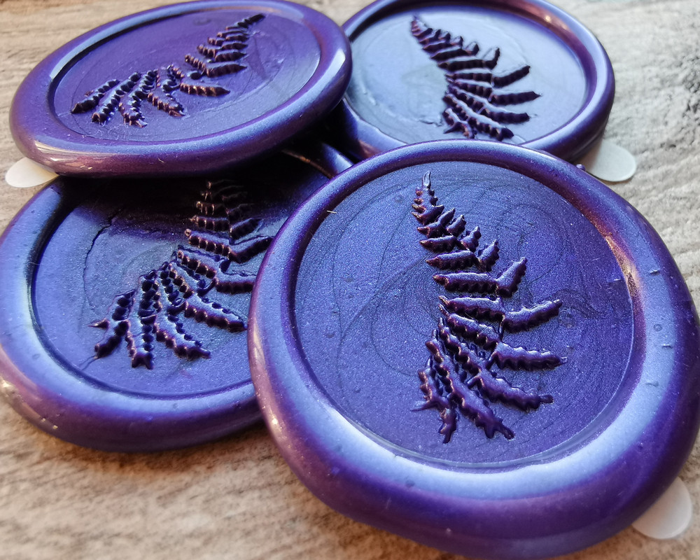 Delicate Fern Peel and Stick Self Adhesive Wax Seal Stickers Pearl Purple