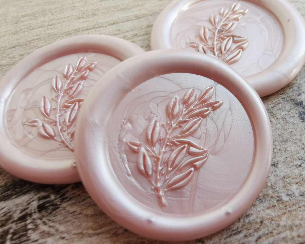 Laurel Leaf Peel and Stick wax seal stickers Champagne Pearl