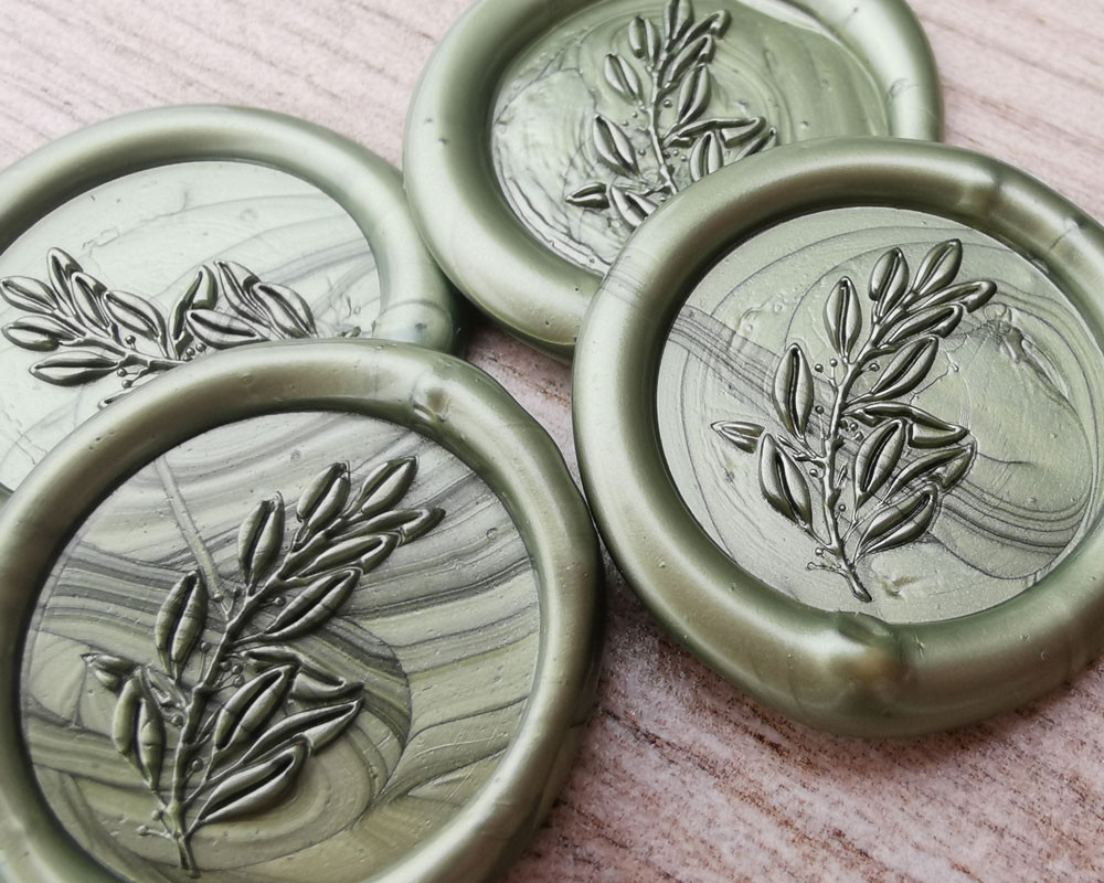 Laurel Leaf Peel and Stick wax seal stickers  Olive Green Pearl