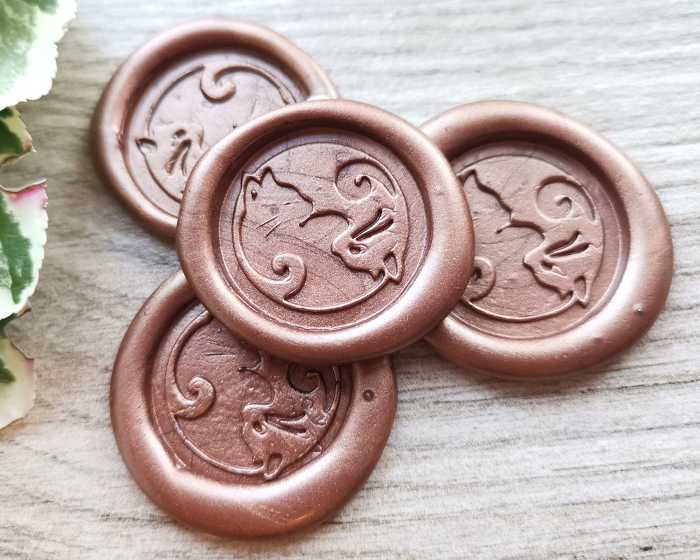 Cats Yin Yang Peel and Stick wax stickers - Copper