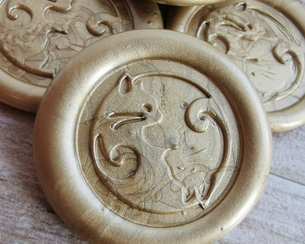 Cats Yin Yang Peel and Stick wax seal stickers - 9ct Gold