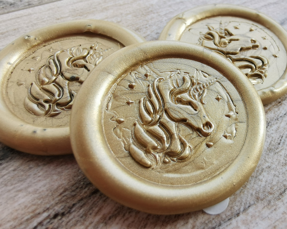 Wedding unicorn wax seal stickers - 9ct Gold