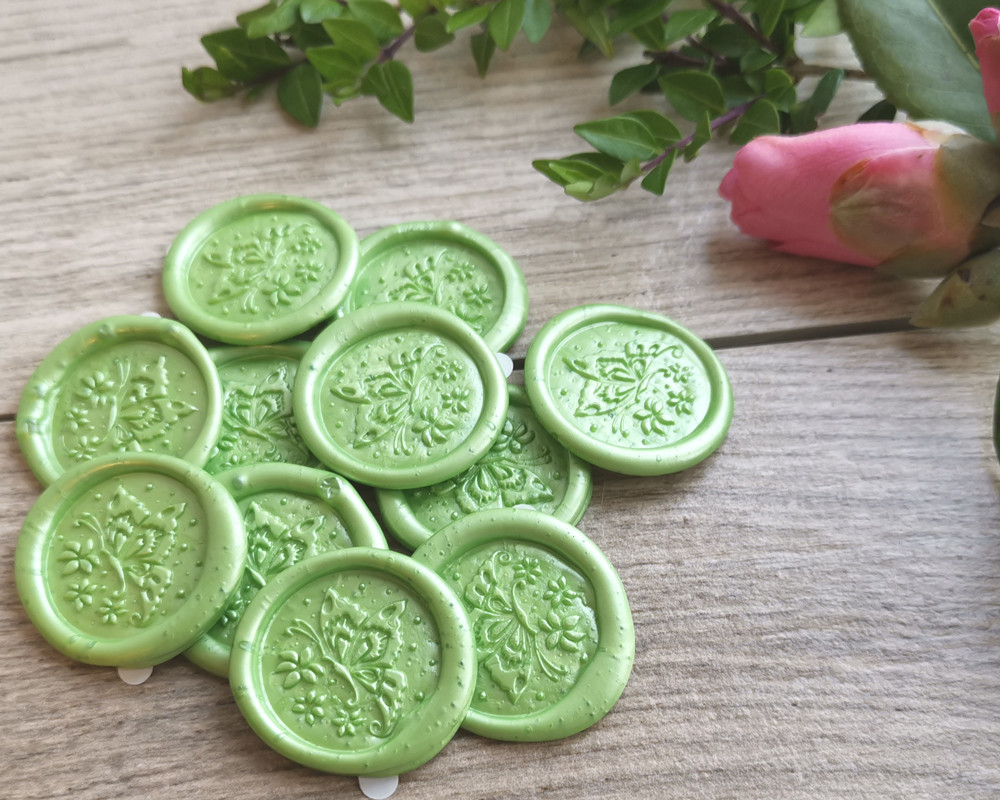 Butterfly Peel and Stick wax stickers - colour sample lime green pearl