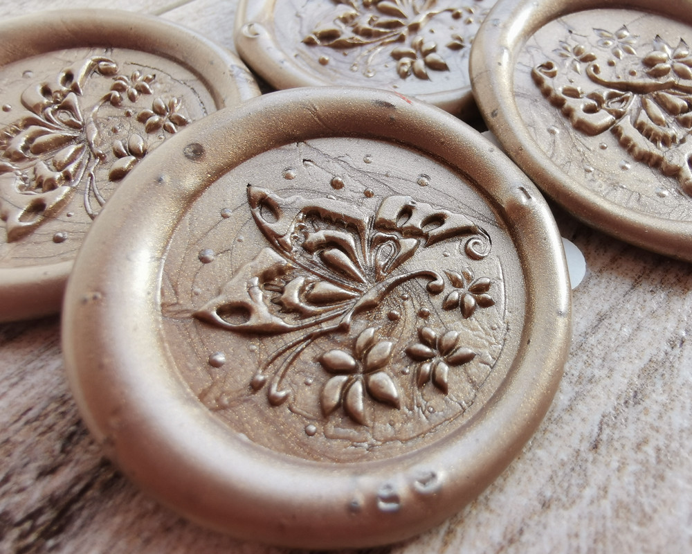 Butterfly Peel and Stick wax seal Stickers Honey Gold