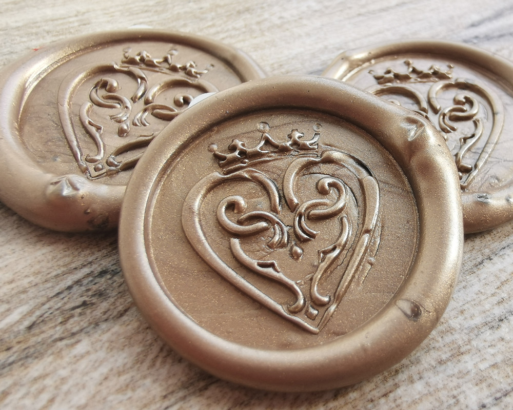 Luckenbooth Scottish Wedding Peel and Stick wax seal sticker - Honey Gold
