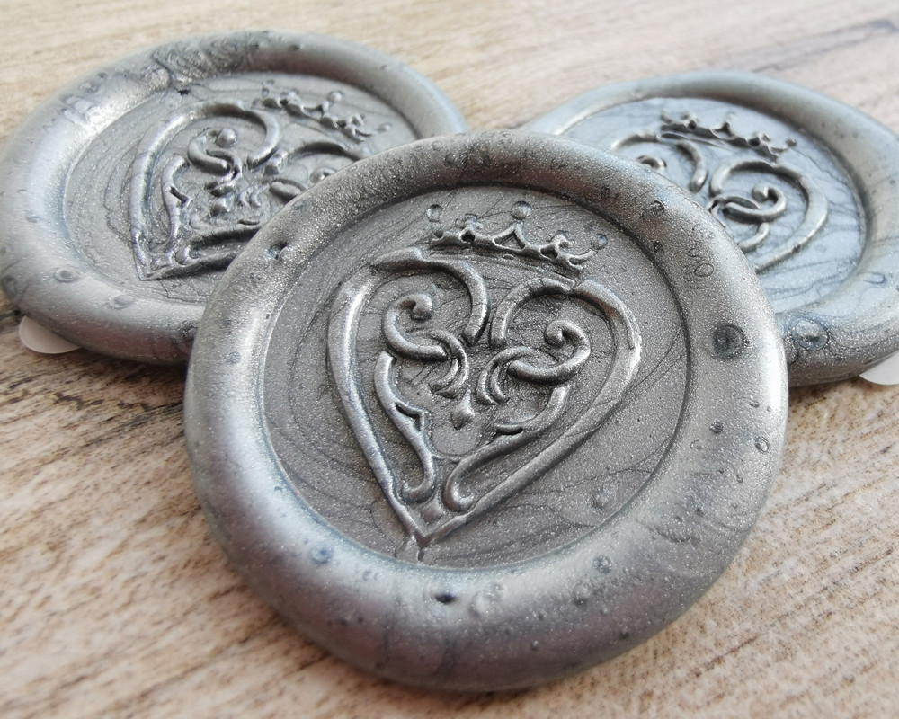 Luckenbooth Scottish Wedding Peel and Stick wax seal sticker - Silver