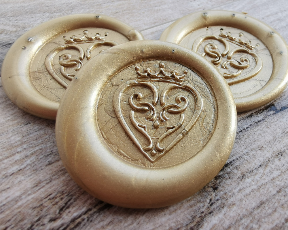Luckenbooth Scottish Wedding Peel and Stick wax seal sticker - 9ct Gold