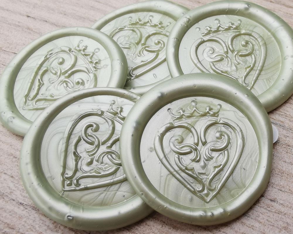 Luckenbooth Scottish Wedding Peel and Stick wax seal sticker - Sage Green