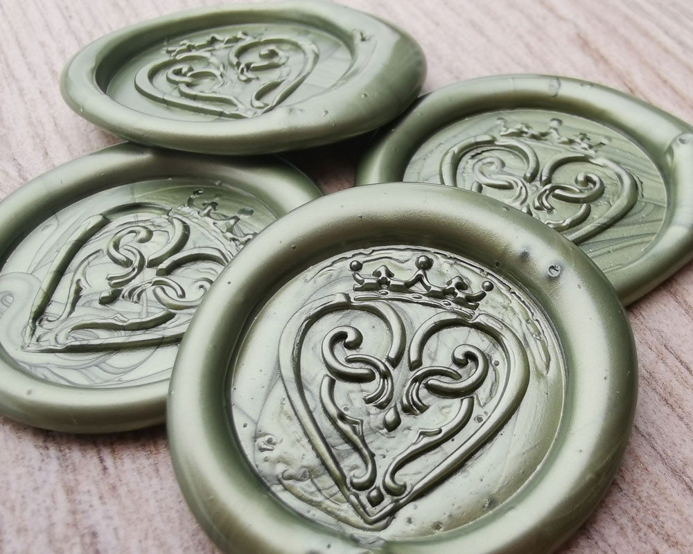 Luckenbooth Scottish Wedding Peel and Stick wax seal sticker -  Olive Green