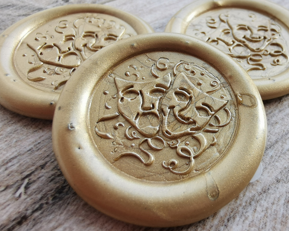 Party Masks Peel and Stick Wax Seals 9ct Gold