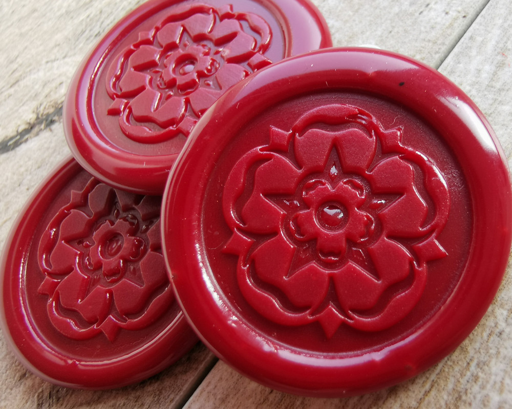 Yorkshire Rose peel and stick wax seal stickers Traditional Red