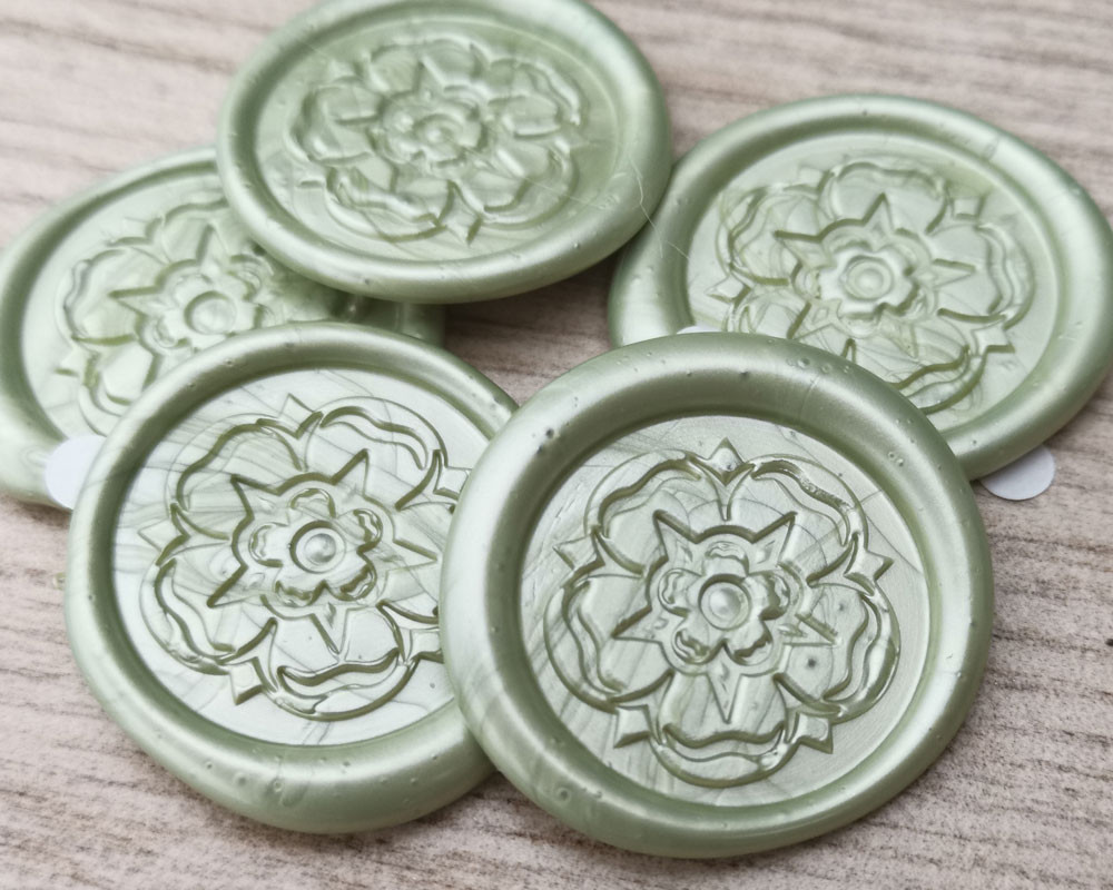 Yorkshire Rose peel and stick wax seal stickers Sage Green