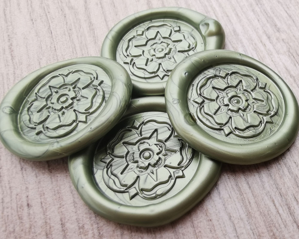 Yorkshire Rose peel and stick wax seal stickers Moss Green