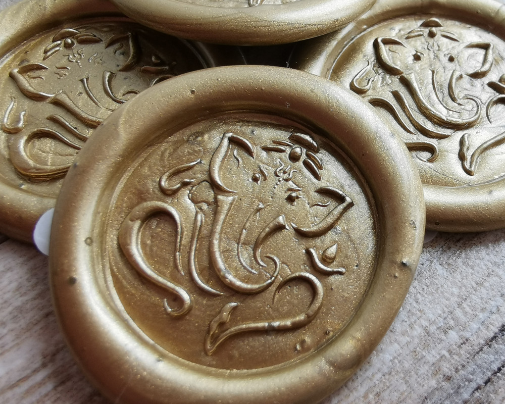Ganesh Adhesive Wax Seal Stickers 9ct Gold