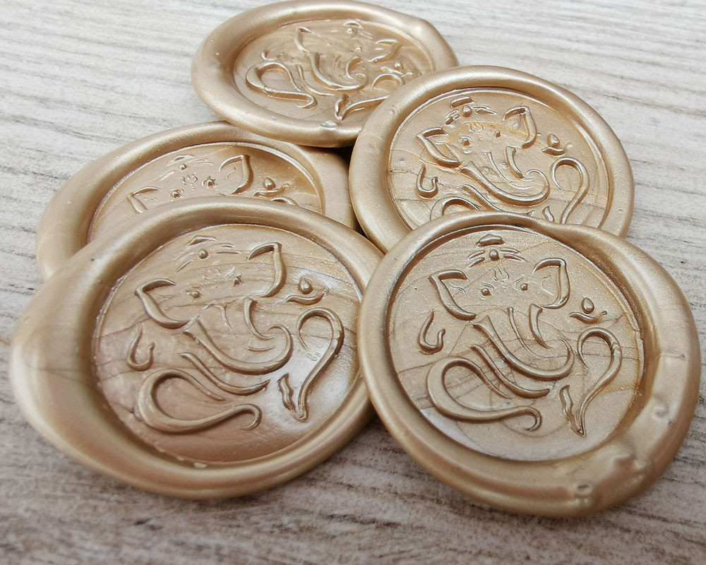 Ganesha Wax Seal Stickers Pale Gold