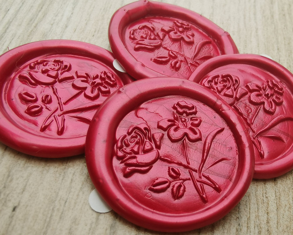 Rose and Daffodil Self Adhesive wax seal stickers - pearl red - all colours available