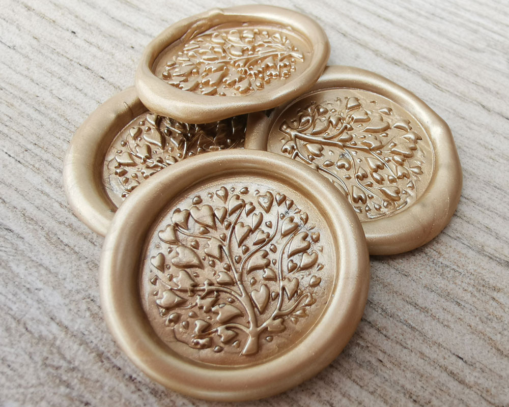 Lavender Wax Seal Stickers -  pale gold pearl
