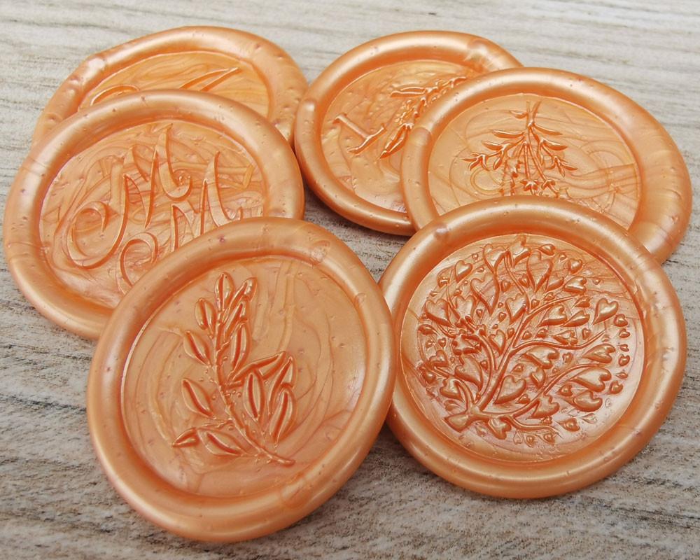 Lavender Wax Seal Stickers -  peach pearl
